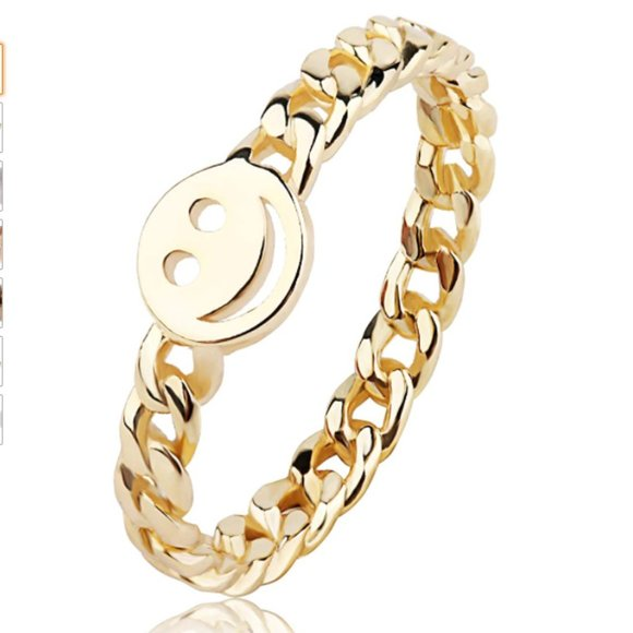 Women Good Luck Smiley Face Ring Happy Face